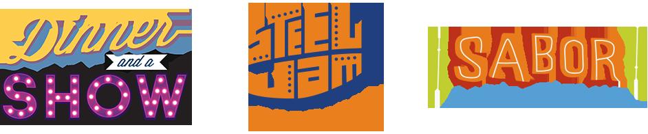 Artsquest Logos - Dinner and a Show, Steel Jam, Sabor Latin Festival
