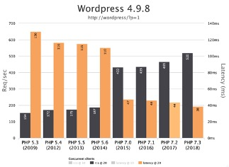 Chart showing differences in php versions - Website Maintenance