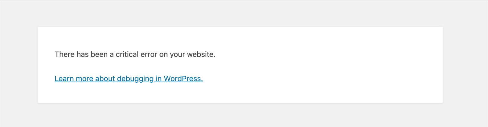 screenshot of wordpress error